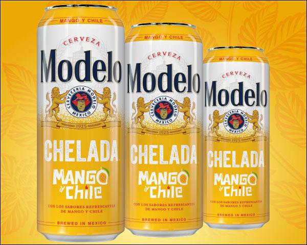 Modelo Mango Chile 24oz cans against orange background.