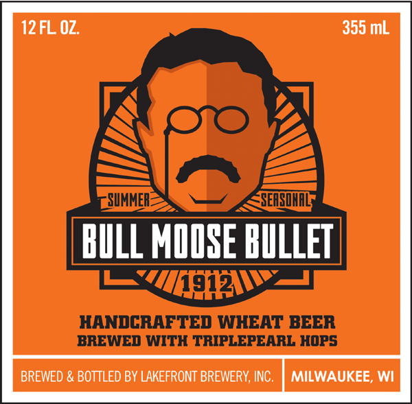 Bull Moose Bullet wheat beer label concept.