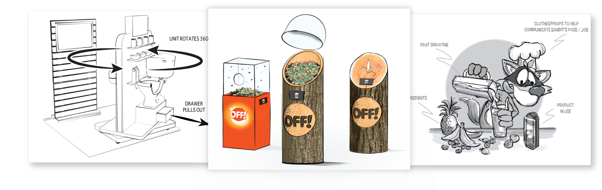Concept illustration slides of OFF! and Glade displays along with a Sneakz concept.