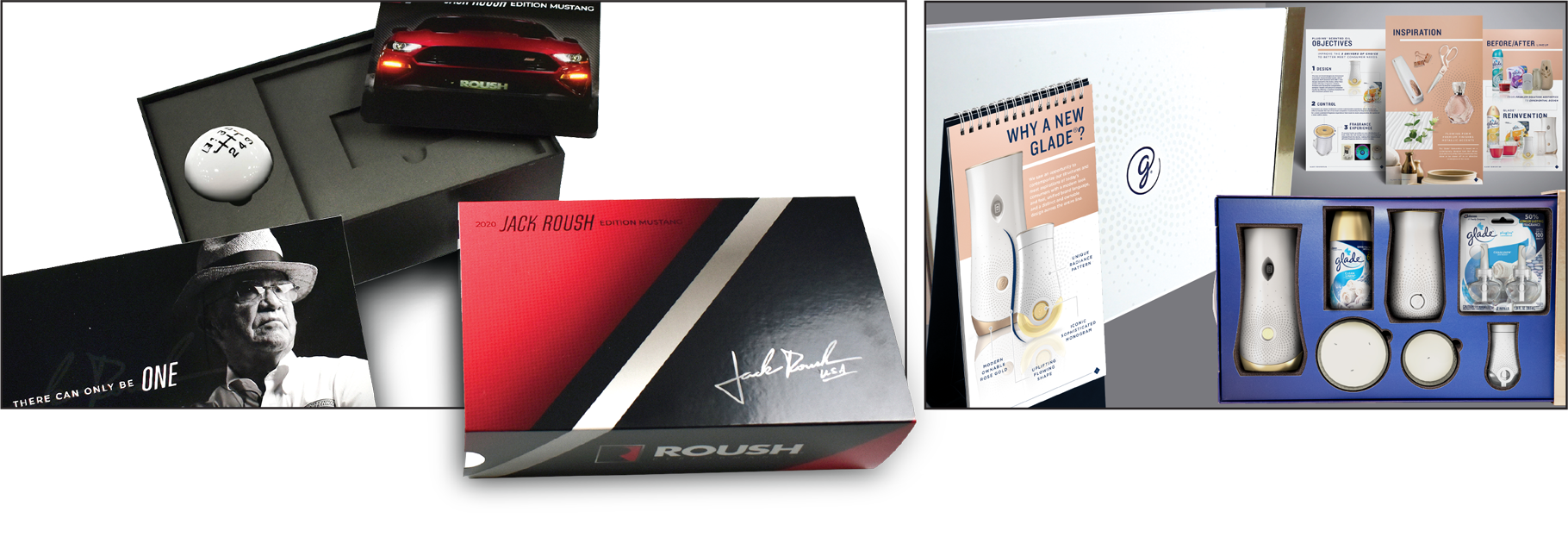 Images of Roush and Glade sales kits